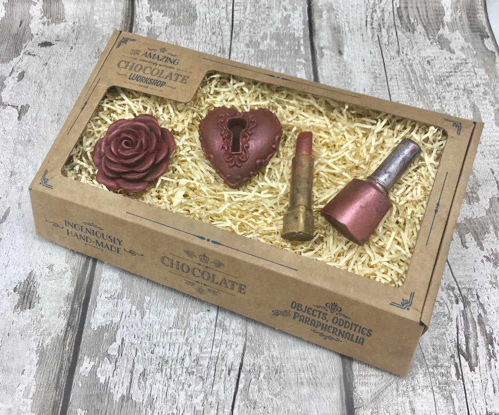 Heart Lock Lipstick Nail Varnish Red Rose Gift Box